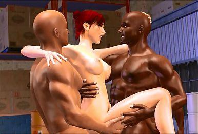 3D interracial cuckold gangbang and cave exploring pincess g